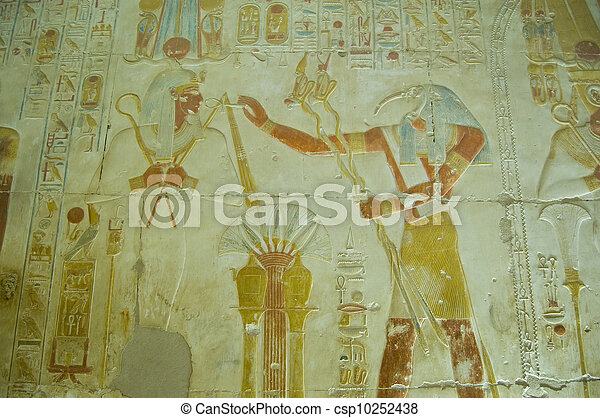 Thoth praising Osiris bas relief