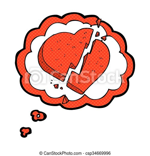 Freehand Drawn Thought Bubble Cartoon Broken Heart Symbol Eps