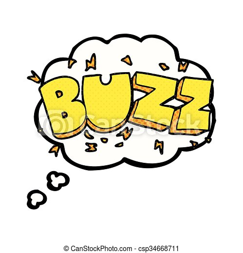 Freehand Drawn Thought Bubble Cartoon Buzz Symbol Vector Clip Art