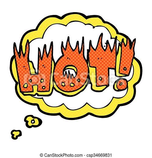 thought bubble cartoon hot symbol - csp34669831