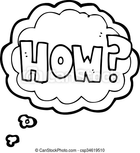 Freehand Drawn Thought Bubble Cartoon How Sign