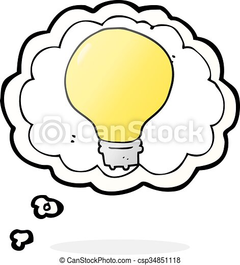 freehand drawn thought bubble cartoon light bulb rh canstockphoto com Remember Light Bulb Thinking Light Bulb No Background