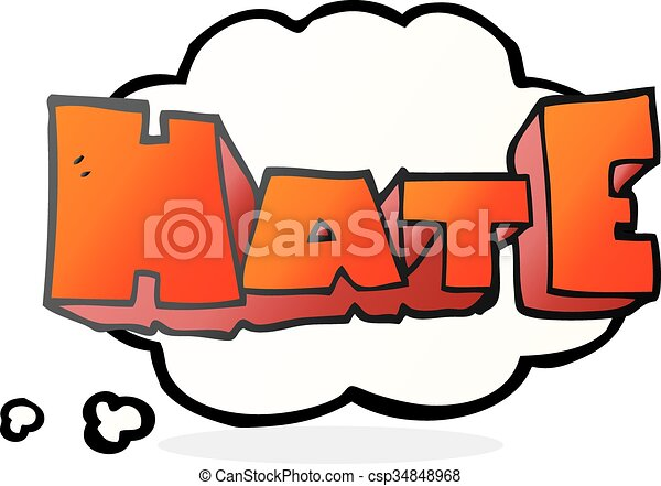 freehand drawn thought bubble cartoon word hate clip art vector rh canstockphoto com thought bubble clipart png thought bubble person clipart