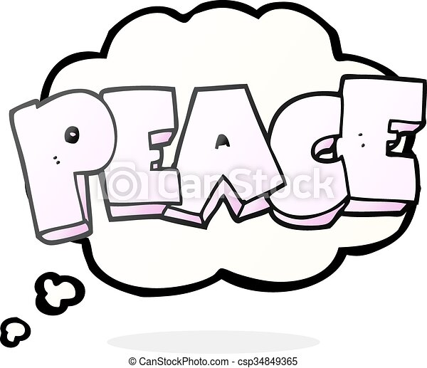 Freehand drawn thought bubble cartoon word peace clip art vector thought bubble cartoon word peace csp34849365 voltagebd Choice Image