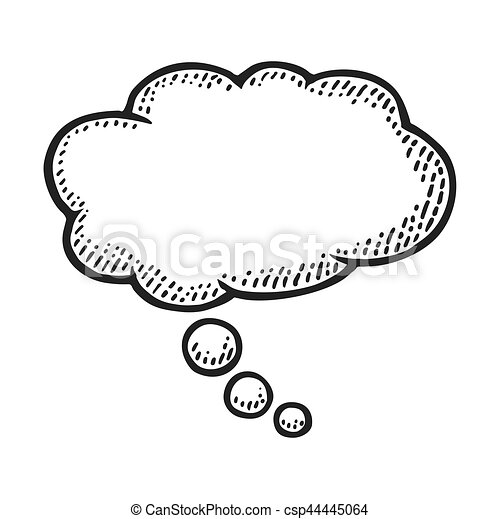 Thought bubble. vintage vector engraving. Thought bubble ...