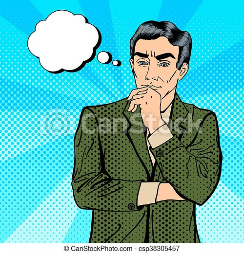 Thoughtful businessman uncertainty in decision making pop art uncertainty in decision making pop art csp38305457 solutioingenieria Choice Image