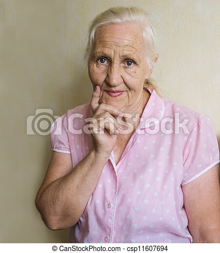 Thoughtful elderly woman - csp11607694