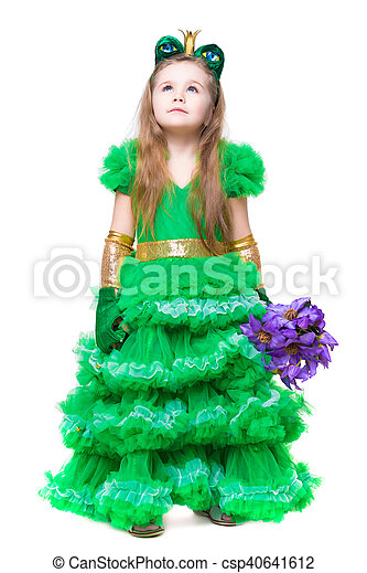 Thoughtful girl wearing like a frog - csp40641612