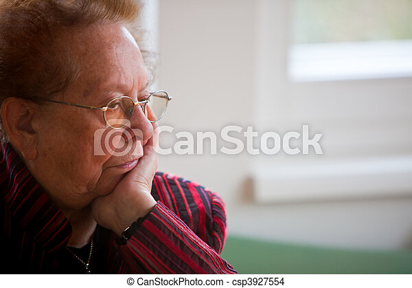 Thoughtful senior citizen - csp3927554