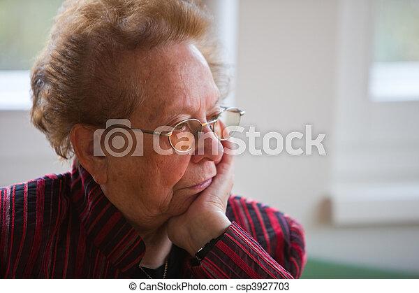 Thoughtful senior citizen - csp3927703