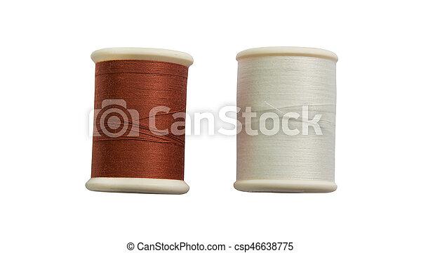 Thread bobbin isolated on white background - csp46638775
