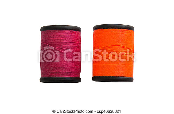 Thread bobbin isolated on white background - csp46638821