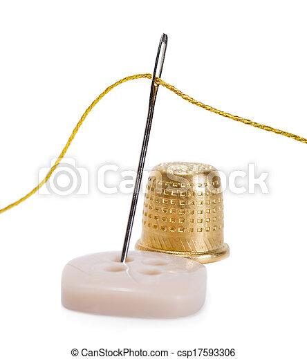 thread golden needlework isolated - csp17593306
