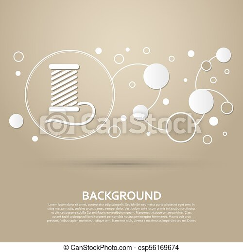 Thread Icon on a brown background with elegant style and modern design infographic. Vector - csp56169674