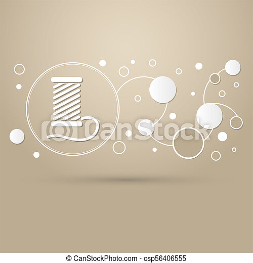 Thread Icon on a brown background with elegant style and modern design infographic. - csp56406555