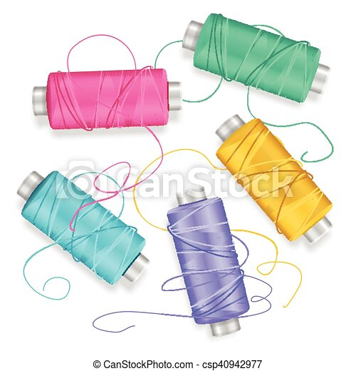 Thread Spool Set Background. Vector - csp40942977