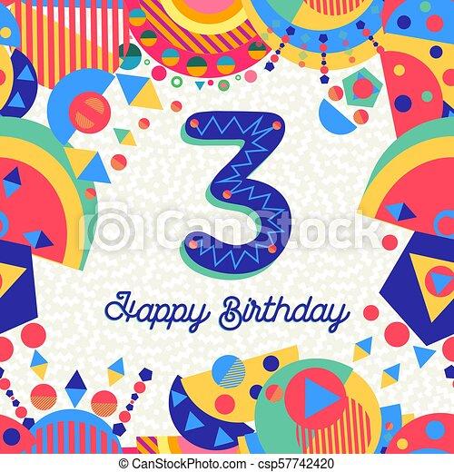 Three 3 Year Birthday Party Greeting Card Number Happy Birthday
