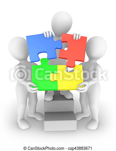 Three 3d People With Jigsaw Puzzle Teamwork Concept