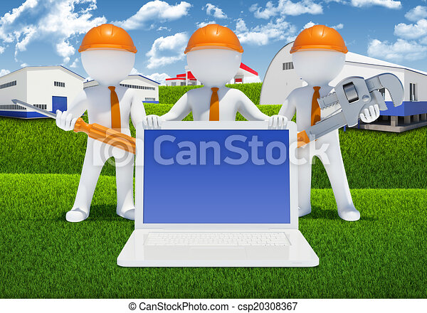 Three 3d white people with tools and laptop - csp20308367