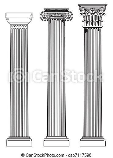 three ancient columns - csp7117598