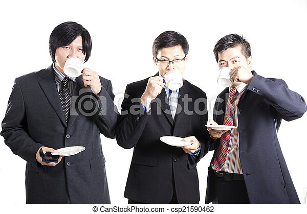 Three Asian business man with coffee break - csp21590462
