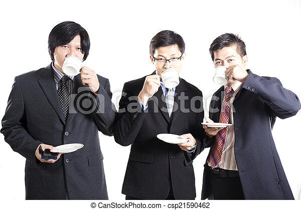 Three Asian business man with coffee break - csp21590462