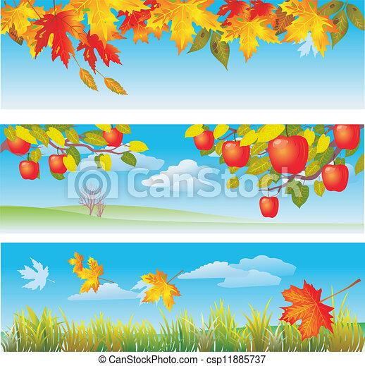 Three autumn banners - csp11885737