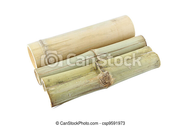 Three bamboo tube for rice steam on white background. - csp9591973