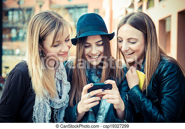 three beautiful friends authentic - csp19327299
