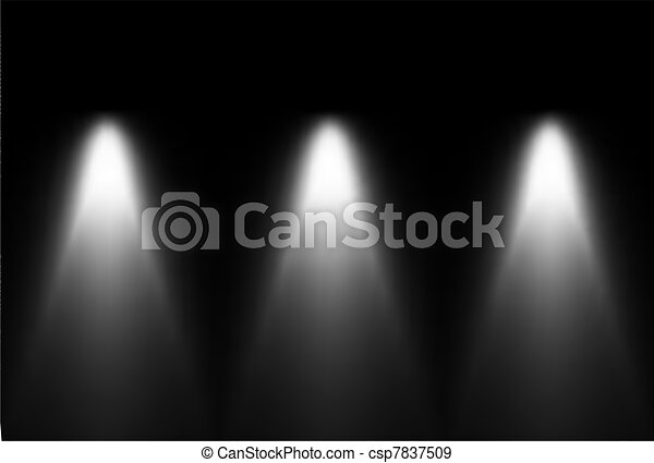 Three black and white light source. Vector - csp7837509