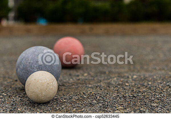 Three Bocce Balls with Copy Space - csp52633445