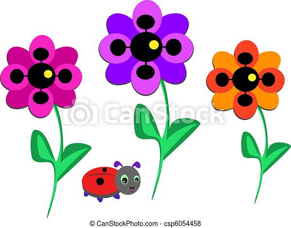 Three Bold Flowers and Ladybug - csp6054458