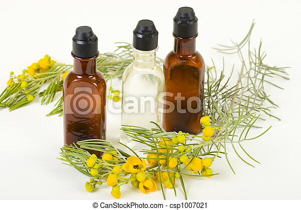 Three Bottles Of Hygienic supplies With Fresh Flower Twig - csp1007021