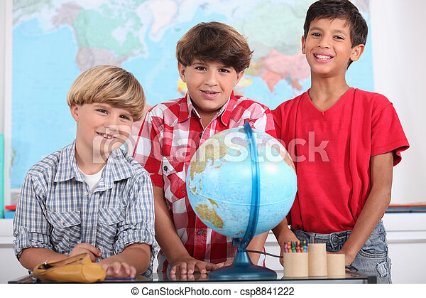 three boys at school - csp8841222