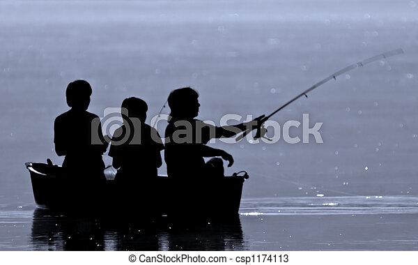 Three boys fishing - csp1174113