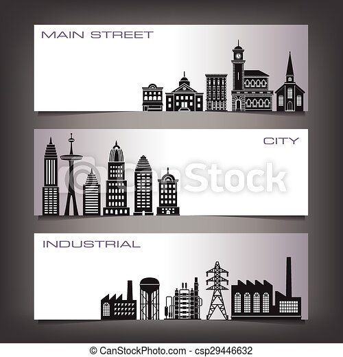 Three Building Banners - csp29446632