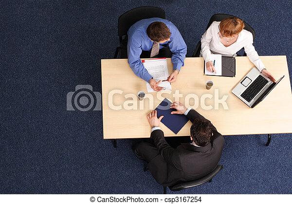 three business people meeting - csp3167254