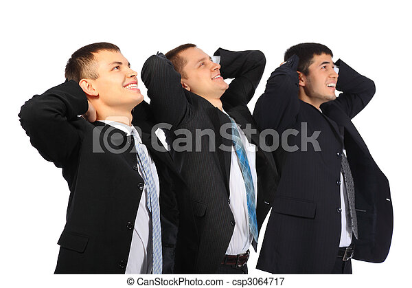 Three businessmen hold hands behind  head and look upwards, view from side - csp3064717