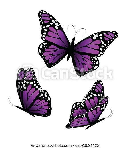 Three butterflies in purple tones. Vector - csp20091122