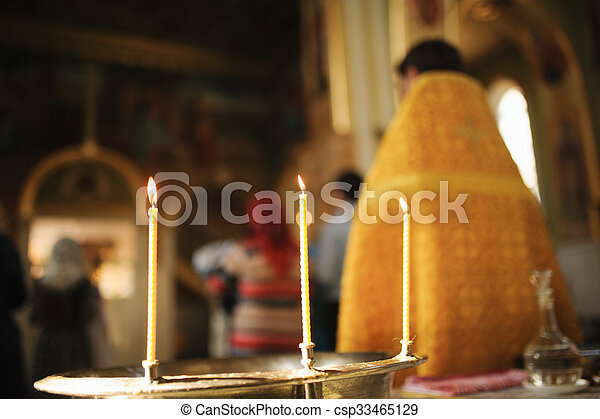 Three Candles during orthodox christening - csp33465129