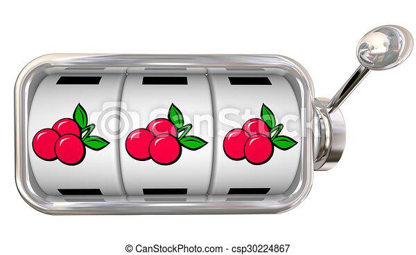 Three Cherries in a Row on Slot Machine Wheels Dials Big Jackpot Winnings - csp30224867