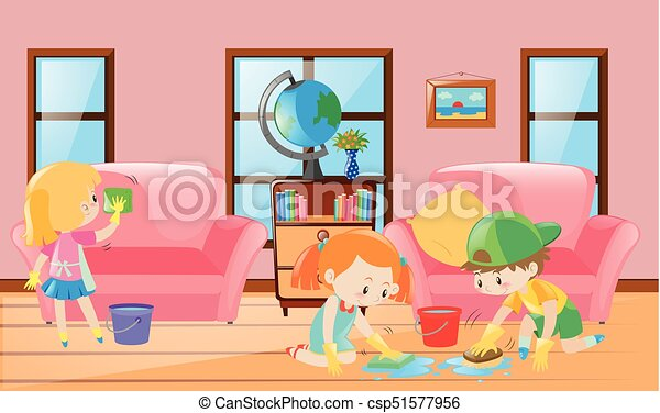 Three children cleaning living room illustration.