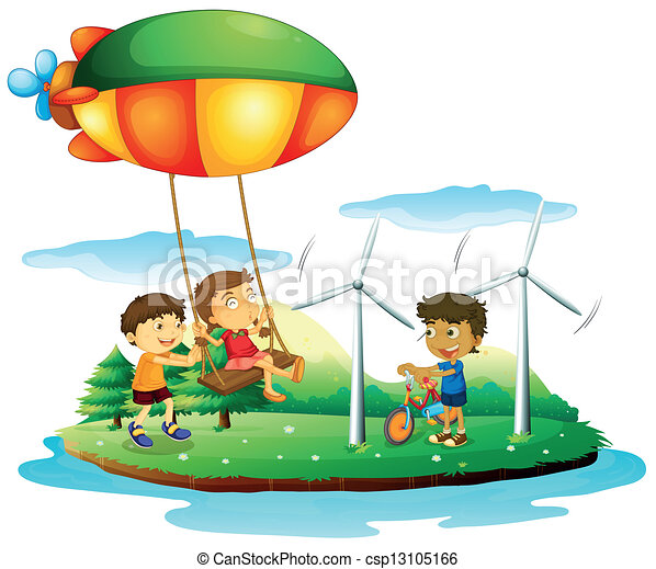 Three children playing at the park - csp13105166