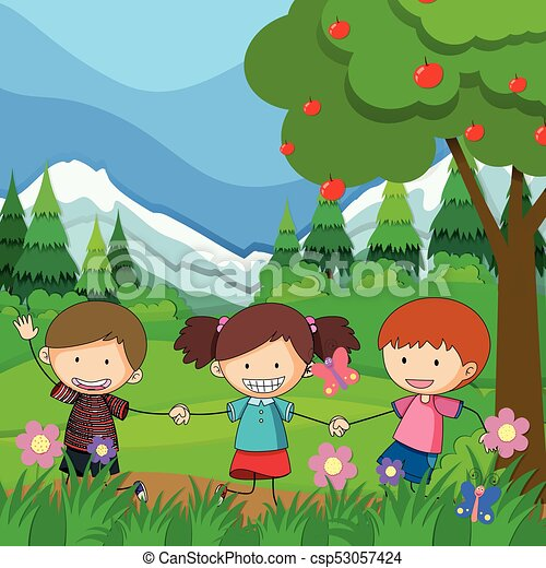 Three children playing in the park - csp53057424
