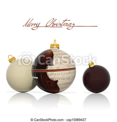 Three Christmas balls with musical elements - csp15989437