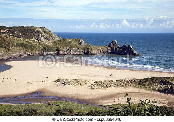 Three Cliffs Bay beach on the Gower Peninsular West Glamorgan Wales UK, - csp88694646