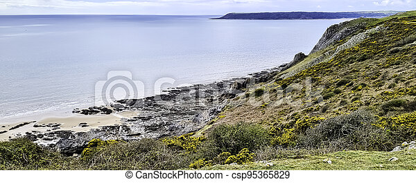 Three Cliffs Bay on the south coast of the Gower Peninsula - csp95365829