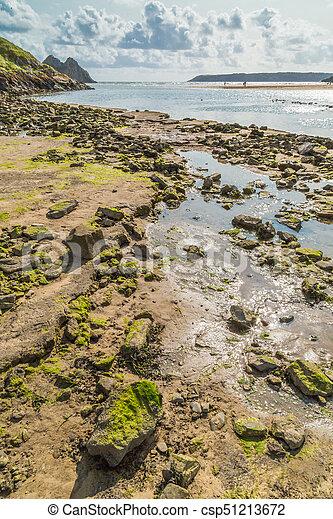 Three Cliffs Bay, Swansea, UK - csp51213672