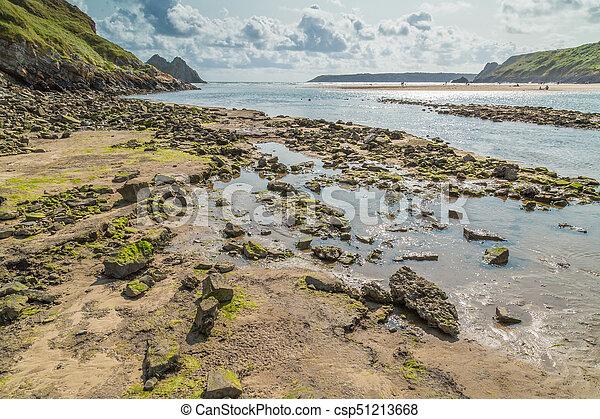 Three Cliffs Bay, Swansea, UK - csp51213668