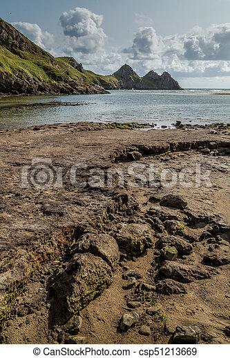 Three Cliffs Bay, Swansea, UK - csp51213669